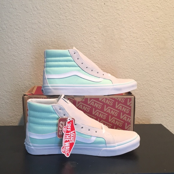 1a093c635b Vans Sk8 Hi Slim Mint Ivory Suede canvas shoes